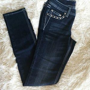 Earl Dark Low Rise Skinny Rhinestone Pocket Jean 9